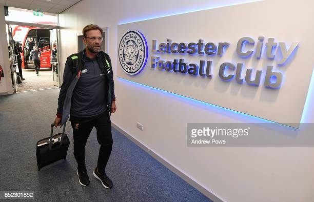 Jurgen Klopp manager of Liverpool arrives before the Premier League match between Leicester City and Liverpool at The King Power Stadium on September...
