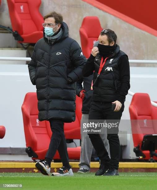 Jurgen Klopp manager of Liverpool arrives on the pitch before the Premier League match between Liverpool and Manchester United at Anfield on January...