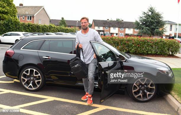 Jurgen Klopp manager of Liverpool arriving before a training session at Melwood Training Ground on July 5 2017 in Liverpool England