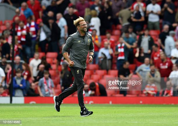Jurgen Klopp manager of Liverpool at the end of the Premier League match between Liverpool FC and West Ham United at Anfield on August 12 2018 in...