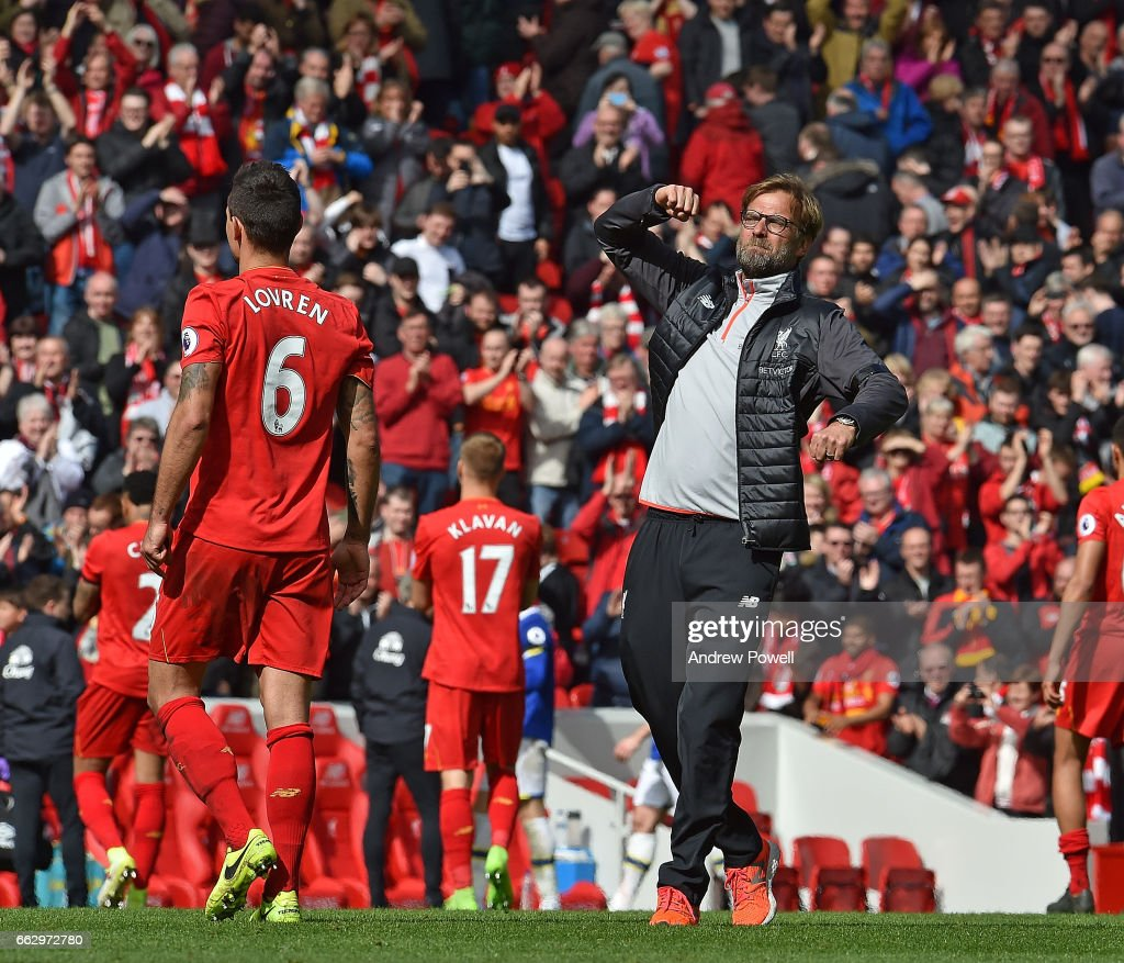Jurgen Klopp Manager of Liverpool at the end of the Premier League match between Liverpool and Everton at Anfield on April 1, 2017 in Liverpool, England.
