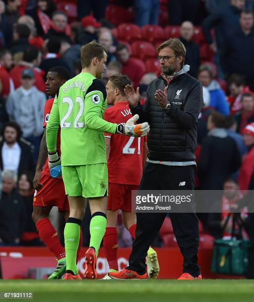 Jurgen Klopp Manager of Liverpool at the end of the Premier League match between Liverpool and Crystal Palace at Anfield on April 23 2017 in...