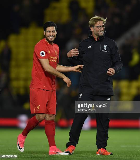 Jurgen Klopp Manager of Liverpool at the end of the the Premier League match between Watford and Liverpool at Vicarage Road on May 1, 2017 in...