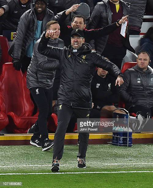 Jurgen Klopp Manager of Liverpool at the end of the UEFA Champions League Group C match between Liverpool and SSC Napoli at Anfield on December 11...
