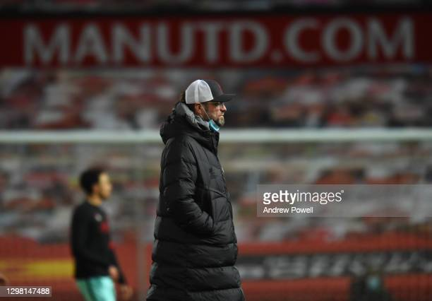 Jurgen Klopp manager of Liverpool before The Emirates FA Cup Fourth Round match between Manchester United and Liverpool at Old Trafford on January...