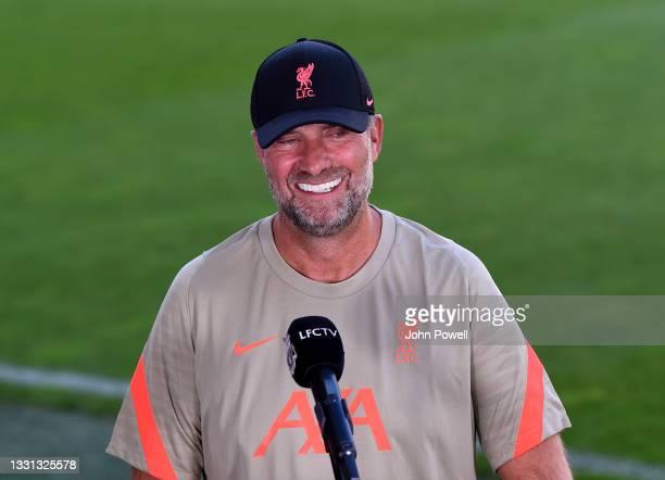 Jurgen Klopp manager of Liverpool before the Pre Season match between Hertha BSC and Liverpool at Tivoli Stadion Tirol on July 29, 2021 in Innsbruck,...