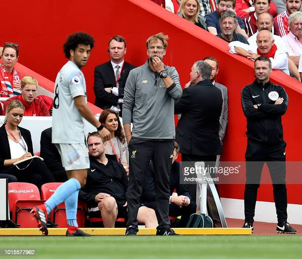Jurgen Klopp manager of Liverpool before the Premier League match between Liverpool FC and West Ham United at Anfield on August 12 2018 in Liverpool...