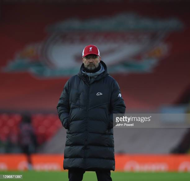 Jurgen Klopp manager of Liverpool before the Premier League match between Liverpool and Manchester United at Anfield on January 17, 2021 in...