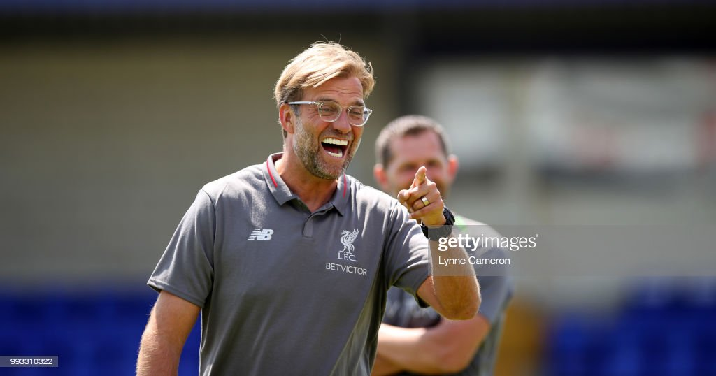 Jurgen Klopp manager of Liverpool before the Pre-season friendly between Chester FC and Liverpool on July 7, 2018 in Chester, United Kingdom.