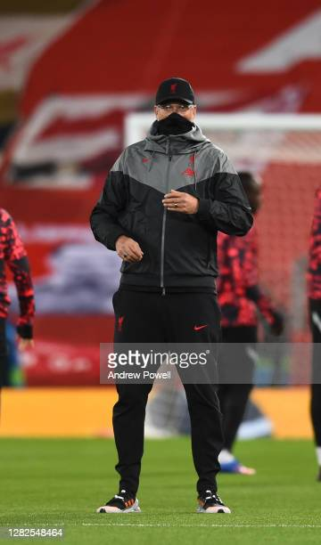 Jurgen Klopp manager of Liverpool before the UEFA Champions League Group D stage match between Liverpool FC and FC Midtjylland at Anfield on October...