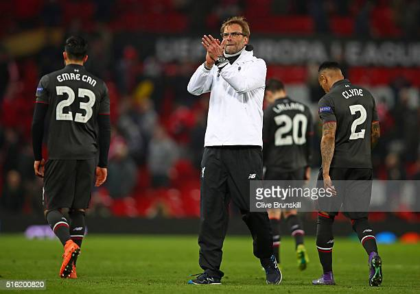 Jurgen Klopp manager of Liverpool celebrates a 31 aggregate victory after the UEFA Europa League round of 16 second leg match between Manchester...