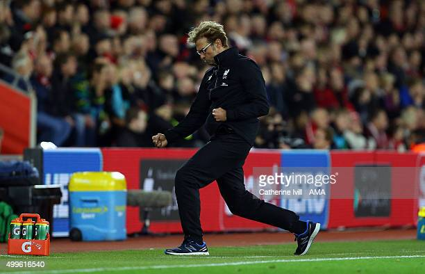 Jurgen Klopp manager of Liverpool celebrates after Daniel Sturridge of Liverpool scores to make it 12 during the Capital One Cup Quarter Final...