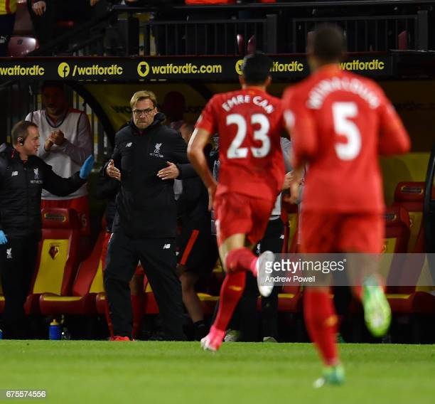 Jurgen Klopp manager of Liverpool celebrates after Emre Can scores the opening goal during the Premier League match between Watford and Liverpool at...