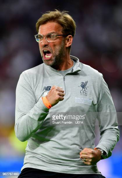 Jurgen Klopp Manager of Liverpool celebrates after his sides first goal during the UEFA Champions League Final between Real Madrid and Liverpool at...