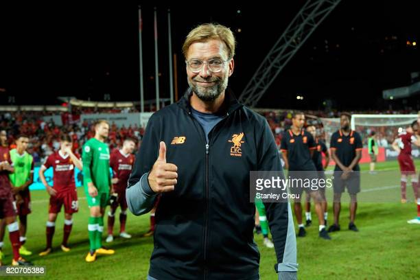 Jurgen Klopp Manager of Liverpool celebrates after the final during the Premier League Asia Trophy match between Liverpool FC and Leicester City FC...