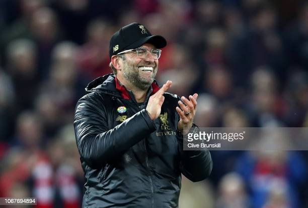 Jurgen Klopp, Manager of Liverpool celebrates after the Premier League match between Liverpool FC and Everton FC at Anfield on December 2, 2018 in...