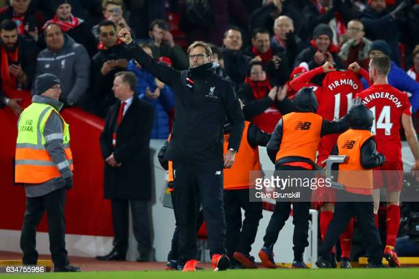 Jurgen Klopp Manager of Liverpool celebrates after the Premier League match between Liverpool and Tottenham Hotspur at Anfield on February 11 2017 in...
