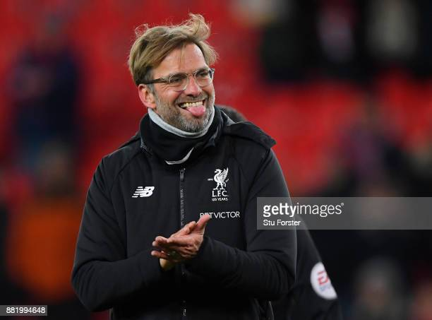 Jurgen Klopp Manager of Liverpool celebrates after the Premier League match between Stoke City and Liverpool at Bet365 Stadium on November 29 2017 in...