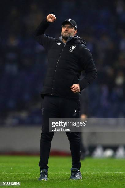 Jurgen Klopp Manager of Liverpool celebrates after winning the UEFA Champions League Round of 16 First Leg match between FC Porto and Liverpool at...