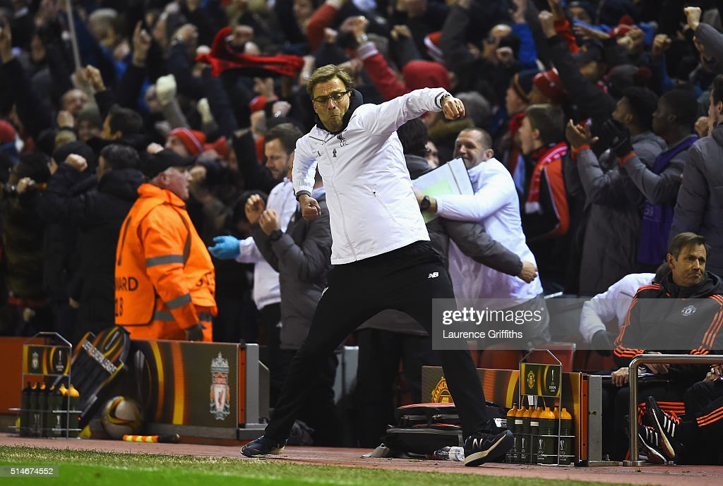 Jurgen Klopp, manager of Liverpool celebrates as Roberto Firmino of Liverpool scores their second goal during the UEFA Europa League Round of 16 first leg match between Liverpool and Manchester United at Anfield on March 10, 2016 in Liverpool, United Kingdom.