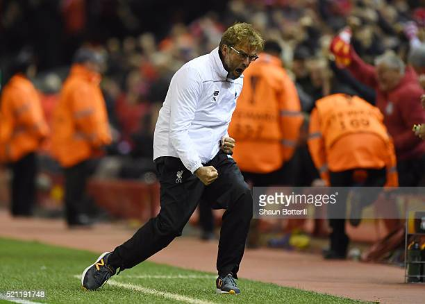 Jurgen Klopp manager of Liverpool celebrates during the UEFA Europa League quarter final second leg match between Liverpool and Borussia Dortmund at...