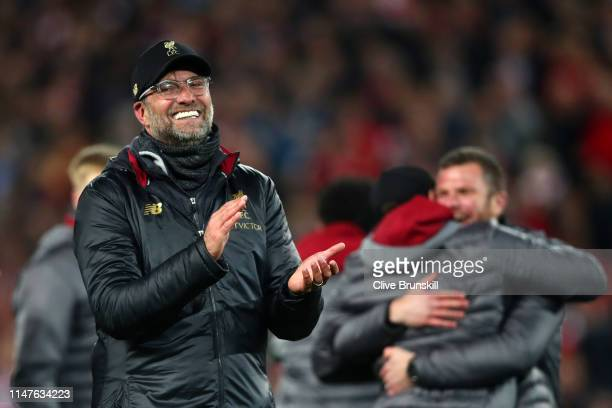 Jurgen Klopp, Manager of Liverpool celebrates following his sides victory in the UEFA Champions League Semi Final second leg match between Liverpool...