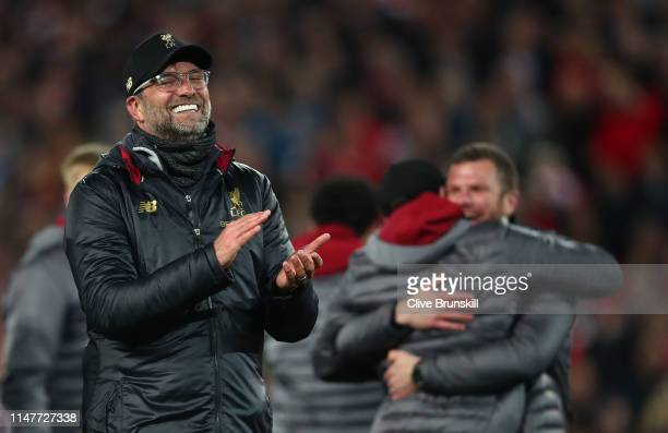 Jurgen Klopp Manager of Liverpool celebrates following his sides victory in the UEFA Champions League Semi Final second leg match between Liverpool...