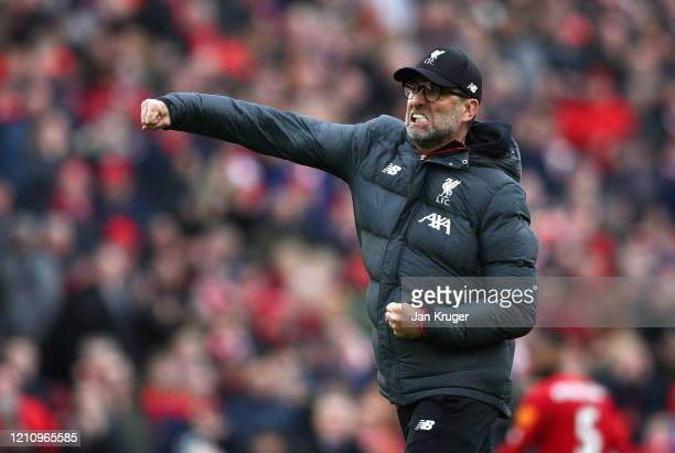 Jurgen Klopp, Manager of Liverpool celebrates following his sides victory in the Premier League match between Liverpool FC and AFC Bournemouth at...