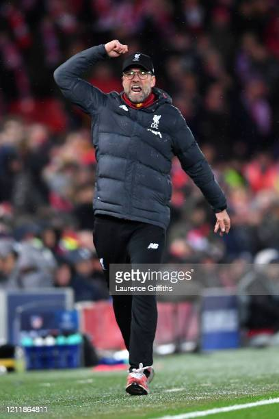 Jurgen Klopp, Manager of Liverpool celebrates his sides second goal during the UEFA Champions League round of 16 second leg match between Liverpool...