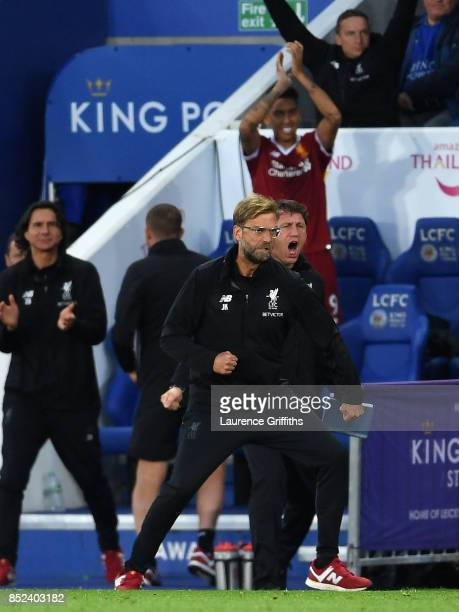 Jurgen Klopp Manager of Liverpool celebrates his sides third goal during the Premier League match between Leicester City and Liverpool at The King...