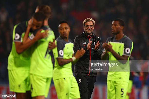 Jurgen Klopp Manager of Liverpool celebrates his team's victory following the Premier League match between Crystal Palace and Liverpool at Selhurst...
