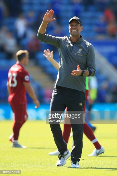 Jurgen Klopp Manager of Liverpool celebrates on the final whistle during the Premier League match between Leicester City and Liverpool FC at The King...