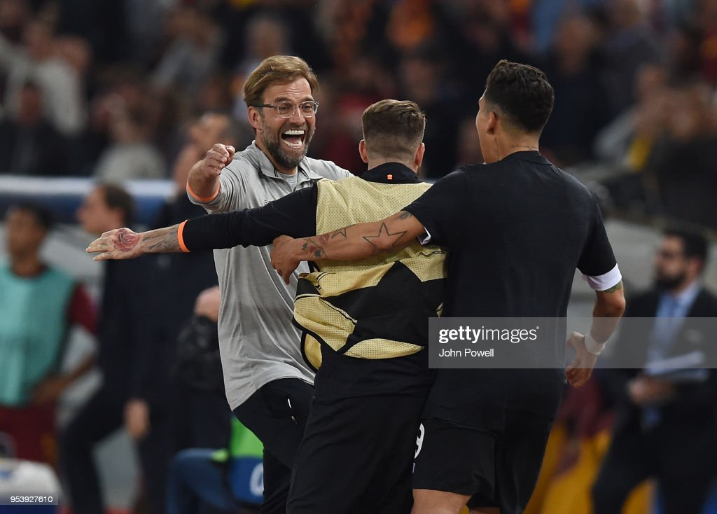 Jurgen Klopp manager of Liverpool celebrates the victory at the end of the UEFA Champions League Semi Final Second Leg match between A.S. Roma and Liverpool at Stadio Olimpico on May 2, 2018 in Rome, Italy.
