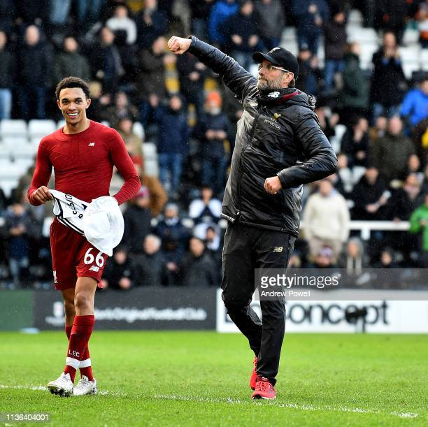 Jurgen Klopp manager of Liverpool celebrates the win at the end of the Premier League match between Fulham FC and Liverpool FC at Craven Cottage on...