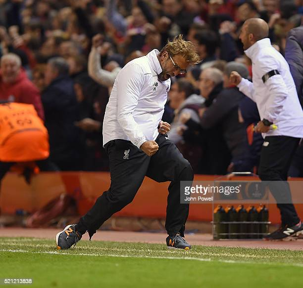Jurgen Klopp manager of Liverpool celebrates the win during the UEFA Europa League Quarter Final Second Leg match between Liverpool and Borussia...