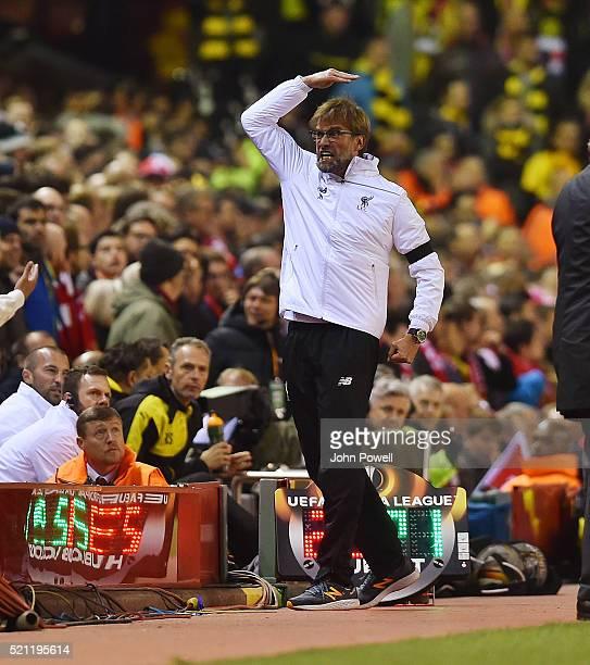 Jurgen Klopp manager of Liverpool celebrates the winning goal during the UEFA Europa League Quarter Final Second Leg match between Liverpool and...