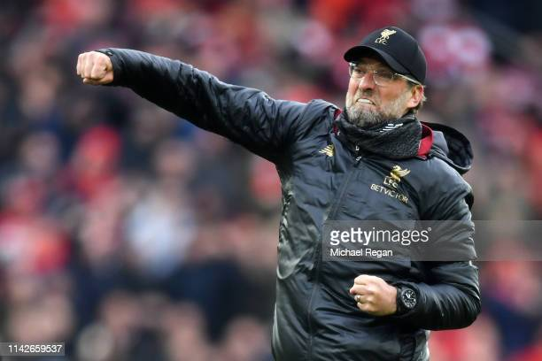 Jurgen Klopp, Manager of Liverpool celebrates victory after the Premier League match between Liverpool FC and Chelsea FC at Anfield on April 14, 2019...