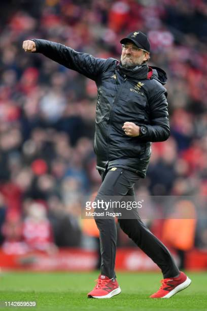 Jurgen Klopp Manager of Liverpool celebrates victory after the Premier League match between Liverpool FC and Chelsea FC at Anfield on April 14 2019...