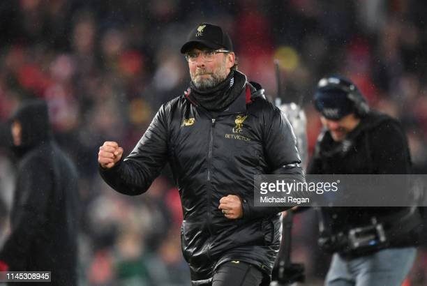 Jurgen Klopp Manager of Liverpool celebrates victory after the Premier League match between Liverpool FC and Huddersfield Town at Anfield on April 26...