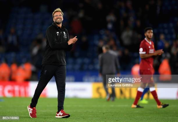 Jurgen Klopp Manager of Liverpool celebrates victory after the Premier League match between Leicester City and Liverpool at The King Power Stadium on...
