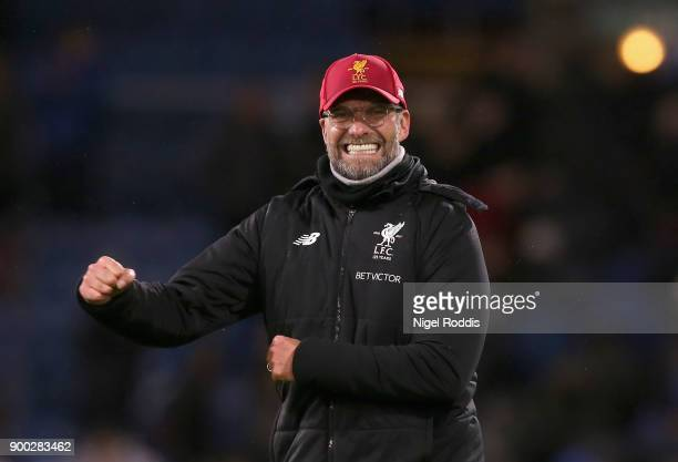 Jurgen Klopp Manager of Liverpool celebrates victory after the Premier League match between Burnley and Liverpool at Turf Moor on January 1 2018 in...