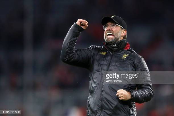 Jurgen Klopp, Manager of Liverpool celebrates victory after the UEFA Champions League Round of 16 Second Leg match between FC Bayern Muenchen and...