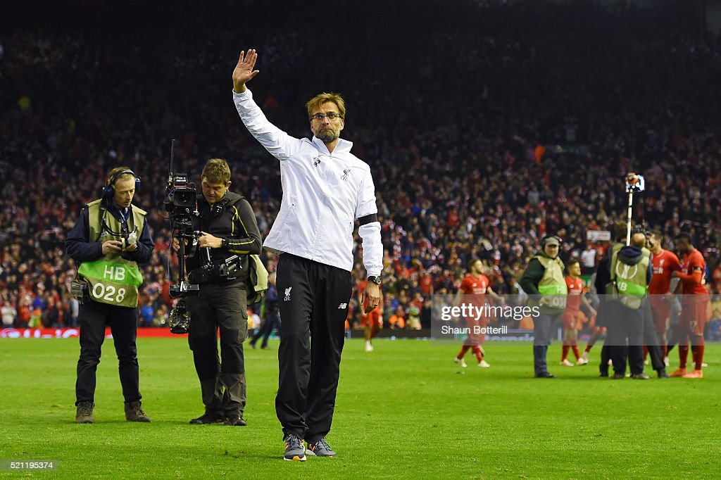 Jurgen Klopp, manager of Liverpool celebrates victory after the UEFA Europa League quarter final, second leg match between Liverpool and Borussia Dortmund at Anfield on April 14, 2016 in Liverpool, United Kingdom.