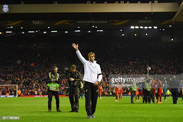 Jurgen Klopp manager of Liverpool celebrates victory after the UEFA Europa League quarter final second leg match between Liverpool and Borussia...