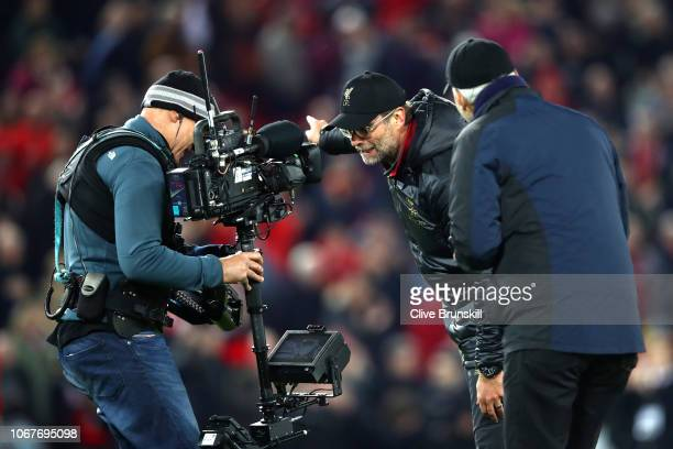 Jurgen Klopp Manager of Liverpool celebrates victory following the Premier League match between Liverpool FC and Everton FC at Anfield on December 2...