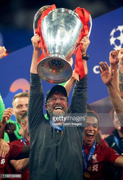 Jurgen Klopp Manager of Liverpool celebrates with the Champions League Trophy after winning the UEFA Champions League Final against Tottenham Hotspur...