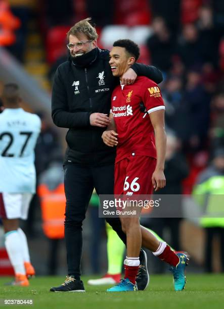 Jurgen Klopp Manager of Liverpool celebrates with Trent Alex Arnold of Liverpool after the Premier League match between Liverpool and West Ham United...