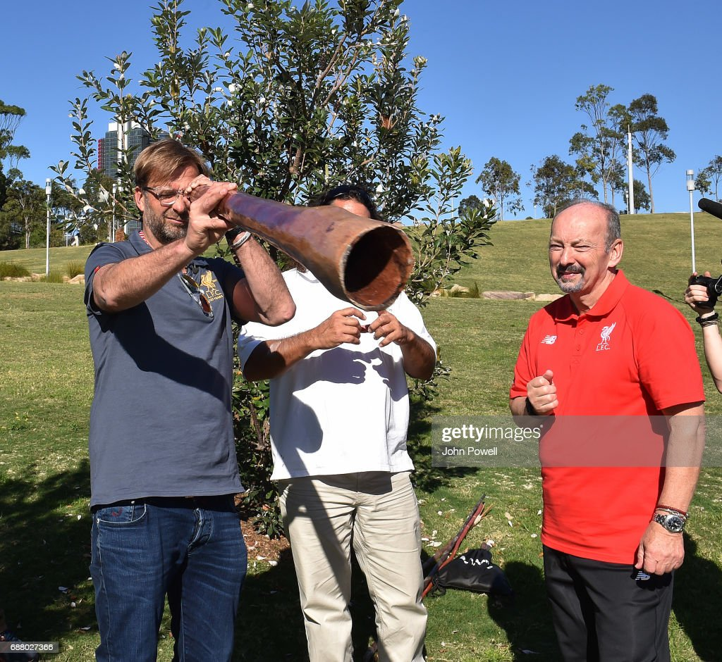 Jurgen Klopp manager of Liverpool checks out a didgeridoo during a Aboriginal culture tour on Walumil Lawn on May 25, 2017 in Sydney, Australia.