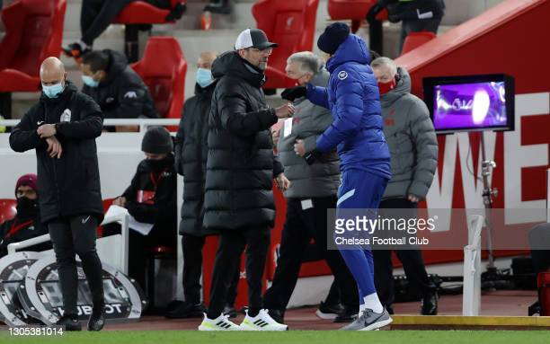 Jurgen Klopp, Manager of Liverpool congratulates Thomas Tuchel, Manager of Chelsea following the Premier League match between Liverpool and Chelsea...