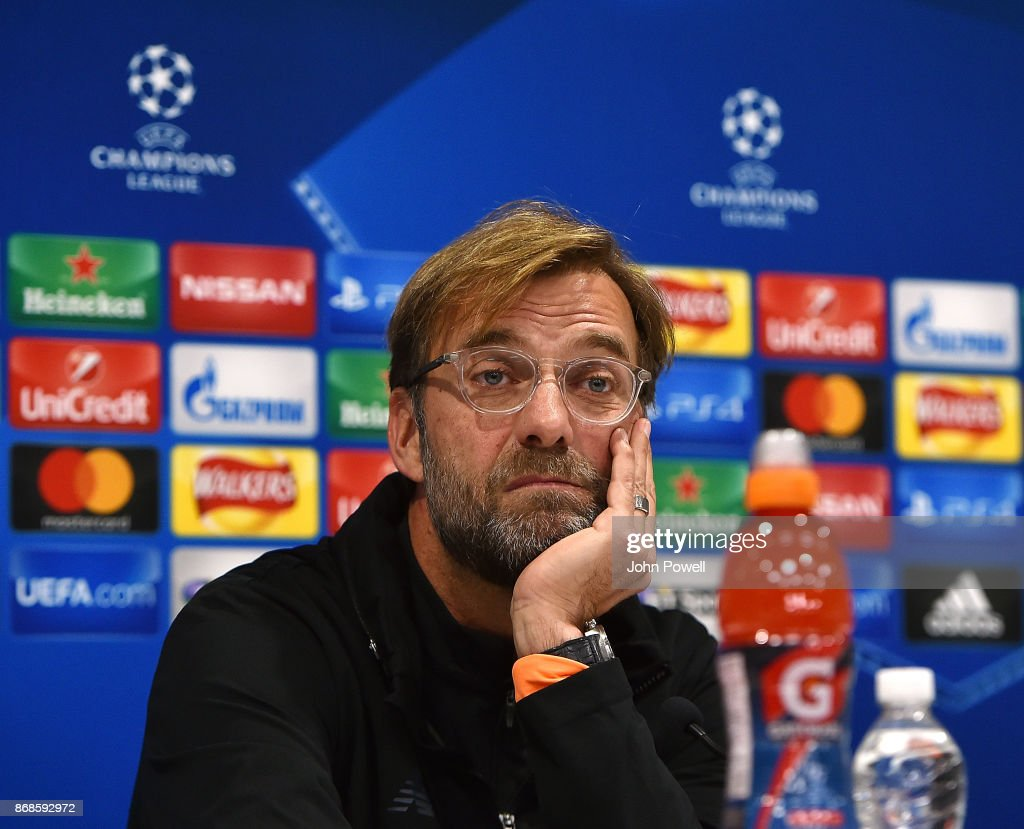 Jurgen Klopp manager of Liverpool during a Liverpool press conference at Anfield on October 31, 2017 in Liverpool, England.